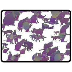Many Cats Silhouettes Texture Fleece Blanket (large)  by Amaryn4rt