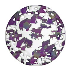 Many Cats Silhouettes Texture Ornament (round Filigree) by Amaryn4rt