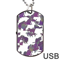 Many Cats Silhouettes Texture Dog Tag Usb Flash (one Side) by Amaryn4rt