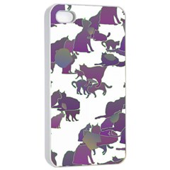 Many Cats Silhouettes Texture Apple Iphone 4/4s Seamless Case (white) by Amaryn4rt