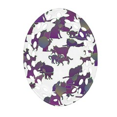 Many Cats Silhouettes Texture Oval Filigree Ornament (two Sides) by Amaryn4rt