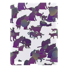 Many Cats Silhouettes Texture Apple Ipad 3/4 Hardshell Case by Amaryn4rt