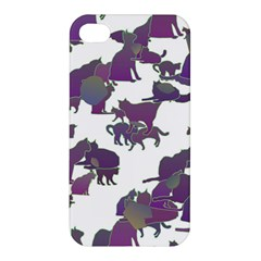 Many Cats Silhouettes Texture Apple Iphone 4/4s Premium Hardshell Case by Amaryn4rt
