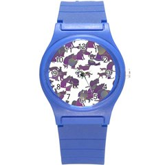 Many Cats Silhouettes Texture Round Plastic Sport Watch (s) by Amaryn4rt