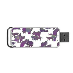 Many Cats Silhouettes Texture Portable Usb Flash (one Side) by Amaryn4rt