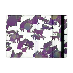 Many Cats Silhouettes Texture Apple Ipad Mini Flip Case by Amaryn4rt
