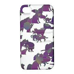 Many Cats Silhouettes Texture Apple Iphone 4/4s Hardshell Case With Stand by Amaryn4rt
