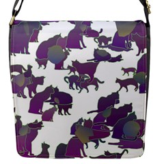Many Cats Silhouettes Texture Flap Messenger Bag (s) by Amaryn4rt