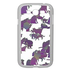 Many Cats Silhouettes Texture Samsung Galaxy Grand Duos I9082 Case (white) by Amaryn4rt