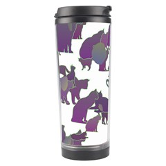 Many Cats Silhouettes Texture Travel Tumbler by Amaryn4rt