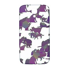 Many Cats Silhouettes Texture Samsung Galaxy S4 I9500/i9505  Hardshell Back Case by Amaryn4rt