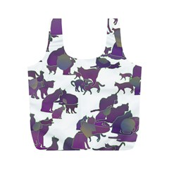 Many Cats Silhouettes Texture Full Print Recycle Bags (m)  by Amaryn4rt
