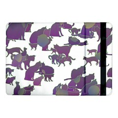 Many Cats Silhouettes Texture Samsung Galaxy Tab Pro 10 1  Flip Case by Amaryn4rt