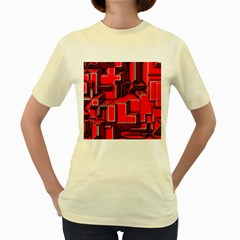 Background With Red Texture Blocks Women s Yellow T Shirt by Amaryn4rt