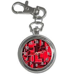 Background With Red Texture Blocks Key Chain Watches by Amaryn4rt