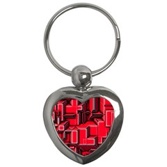 Background With Red Texture Blocks Key Chains (heart)  by Amaryn4rt