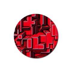Background With Red Texture Blocks Rubber Coaster (round)  by Amaryn4rt