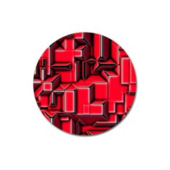 Background With Red Texture Blocks Magnet 3  (round)