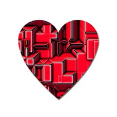 Background With Red Texture Blocks Heart Magnet by Amaryn4rt