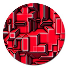 Background With Red Texture Blocks Magnet 5  (round) by Amaryn4rt