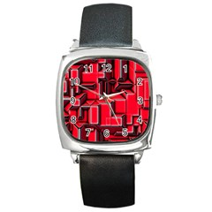 Background With Red Texture Blocks Square Metal Watch by Amaryn4rt