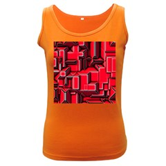 Background With Red Texture Blocks Women s Dark Tank Top by Amaryn4rt