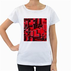 Background With Red Texture Blocks Women s Loose Fit T Shirt (white) by Amaryn4rt