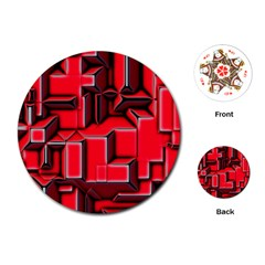 Background With Red Texture Blocks Playing Cards (round)  by Amaryn4rt