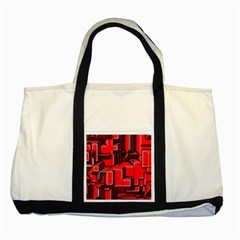 Background With Red Texture Blocks Two Tone Tote Bag by Amaryn4rt