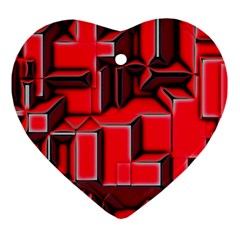 Background With Red Texture Blocks Heart Ornament (two Sides) by Amaryn4rt
