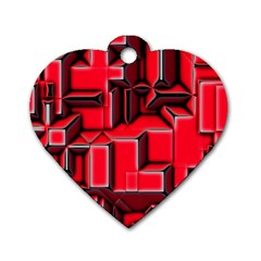 Background With Red Texture Blocks Dog Tag Heart (two Sides) by Amaryn4rt