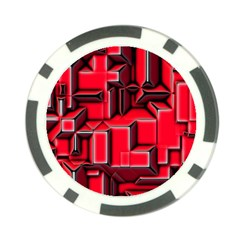 Background With Red Texture Blocks Poker Chip Card Guard by Amaryn4rt