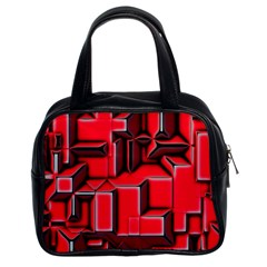Background With Red Texture Blocks Classic Handbags (2 Sides) by Amaryn4rt