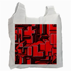 Background With Red Texture Blocks Recycle Bag (one Side) by Amaryn4rt