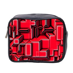 Background With Red Texture Blocks Mini Toiletries Bag 2 Side by Amaryn4rt