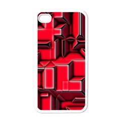 Background With Red Texture Blocks Apple Iphone 4 Case (white) by Amaryn4rt