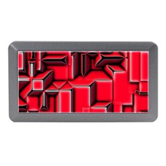 Background With Red Texture Blocks Memory Card Reader (mini) by Amaryn4rt
