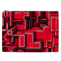 Background With Red Texture Blocks Cosmetic Bag (xxl)  by Amaryn4rt