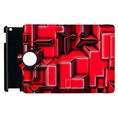 Background With Red Texture Blocks Apple Ipad 3/4 Flip 360 Case by Amaryn4rt