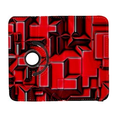 Background With Red Texture Blocks Galaxy S3 (flip/folio) by Amaryn4rt