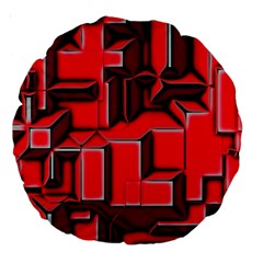 Background With Red Texture Blocks Large 18  Premium Round Cushions by Amaryn4rt