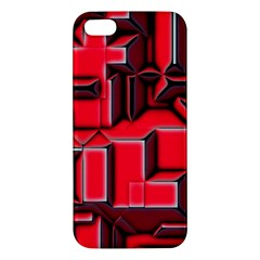 Background With Red Texture Blocks Apple Iphone 5 Premium Hardshell Case by Amaryn4rt