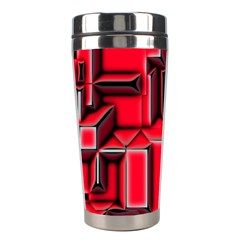 Background With Red Texture Blocks Stainless Steel Travel Tumblers by Amaryn4rt