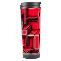 Background With Red Texture Blocks Travel Tumbler by Amaryn4rt