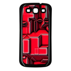 Background With Red Texture Blocks Samsung Galaxy S3 Back Case (black) by Amaryn4rt