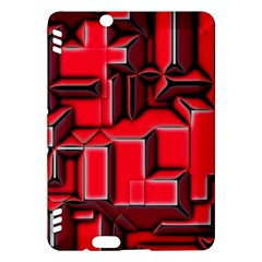 Background With Red Texture Blocks Kindle Fire Hdx Hardshell Case by Amaryn4rt