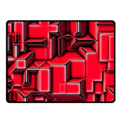 Background With Red Texture Blocks Double Sided Fleece Blanket (small)  by Amaryn4rt