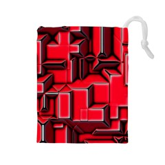 Background With Red Texture Blocks Drawstring Pouches (large)