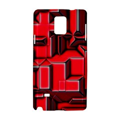 Background With Red Texture Blocks Samsung Galaxy Note 4 Hardshell Case by Amaryn4rt