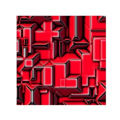 Background With Red Texture Blocks Small Satin Scarf (square) by Amaryn4rt